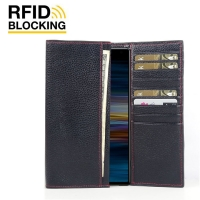 Continental Leather RFID Blocking Wallet Case for Sony Xperia 10 Plus (Black Pebble Leather/Red Stitch)