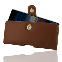 Leather Horizontal Pouch Case with Belt Clip for Sony Xperia 10 Plus (Brown)