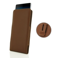Leather Vertical Pouch Belt Clip Case for Sony Xperia 10 Plus (Brown)