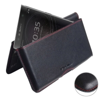 Leather Wallet Pouch for Sony Xperia L2 (Red Stitch)