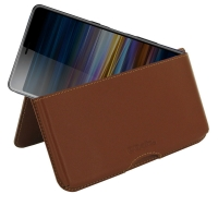 Leather Wallet Pouch for Sony Xperia L3 (Brown)