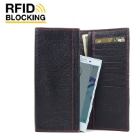 Continental Leather RFID Blocking Wallet Case for Sony Xperia X Compact (Black Pebble Leather/Red Stitch)