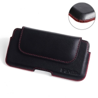 Luxury Leather Holster Pouch Case for Sony Xperia X Compact (Red Stitch)