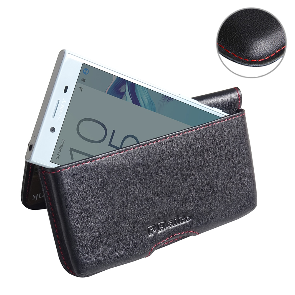 the latest f2c3f 3c7a8 Leather Wallet Pouch for Sony Xperia X Compact (Red Stitch)