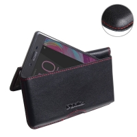 Leather Wallet Pouch for Sony Xperia X (Red Stitch)