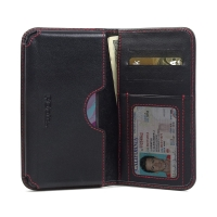 Leather Card Wallet for Sony Xperia X (Red Stitch)