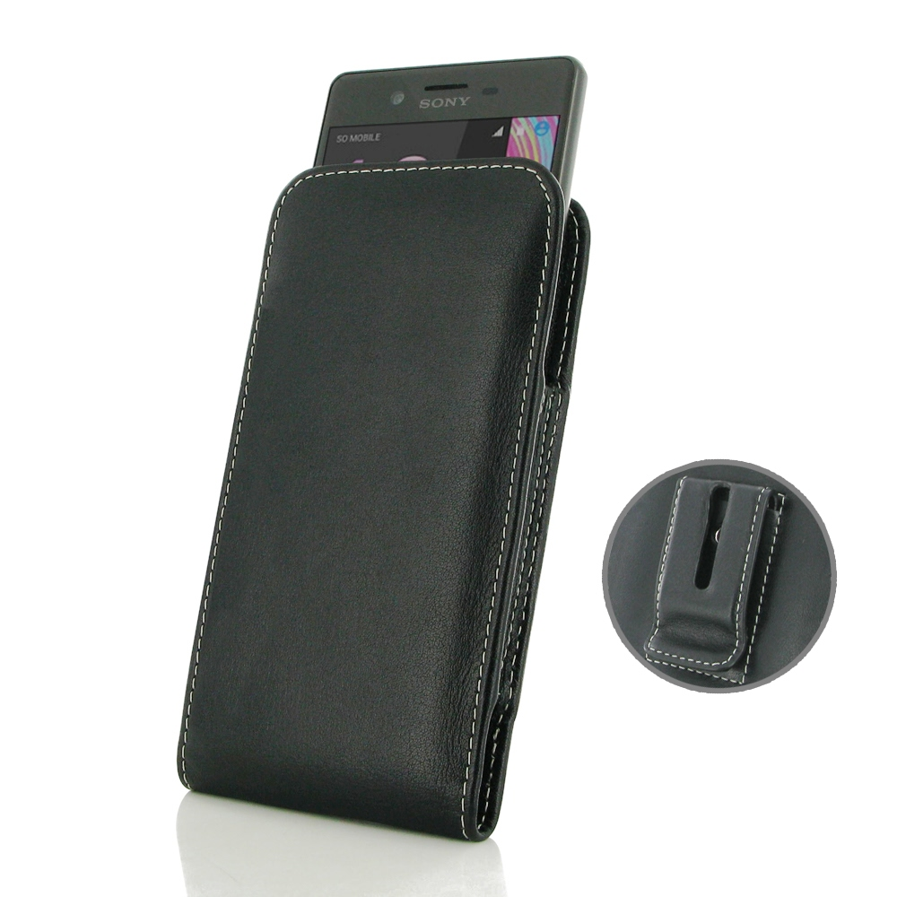 Sony Xperia X Pouch Case with Belt Clip PDair Premium Hadmade Genuine Leather Protective Case Sleeve Wallet
