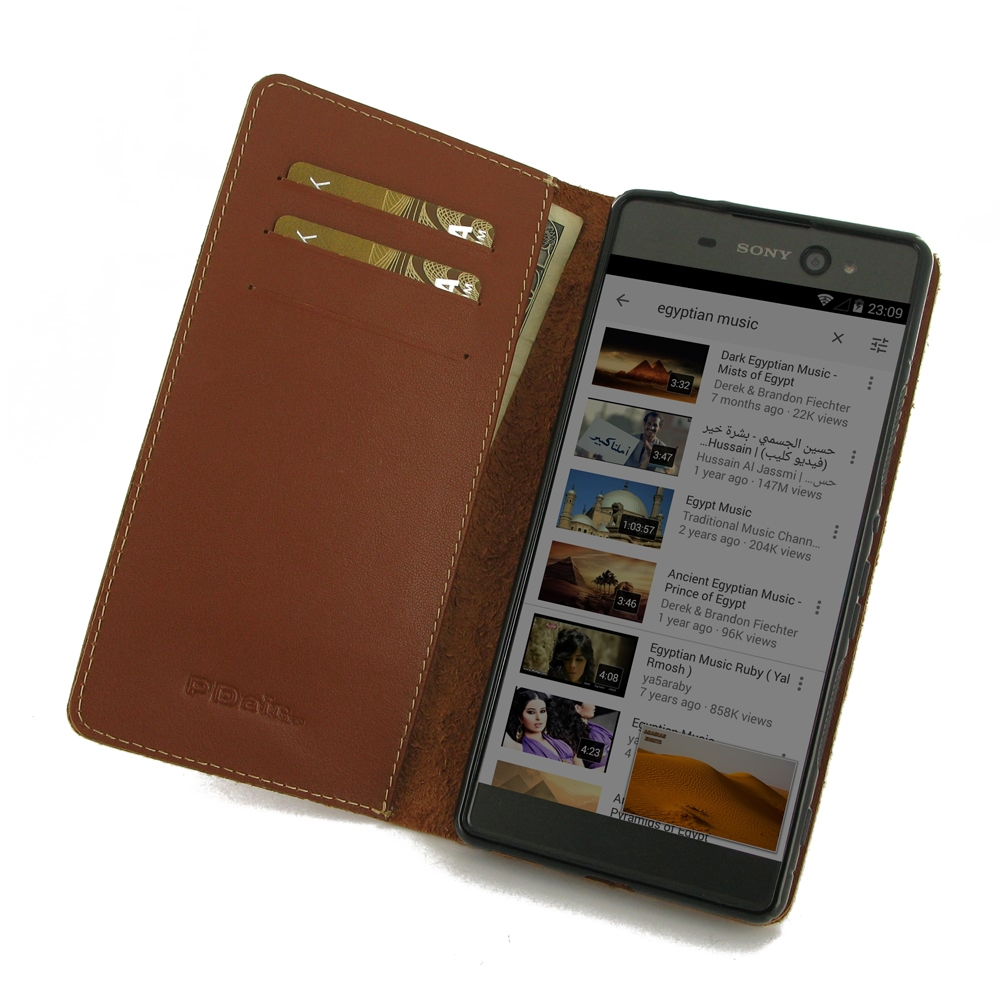 newest e1981 e9940 Leather Book Stand Wallet Case for Sony Xperia XA Ultra (Brown)