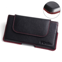 Sony Xperia XZ Dual Leather Holster Pouch Case (Red Stitch) PDair Premium Hadmade Genuine Leather Protective Case Sleeve Wallet