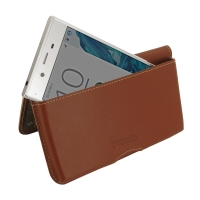 Sony Xperia XZ Dual Leather Wallet Pouch Case (Brown) PDair Premium Hadmade Genuine Leather Protective Case Sleeve Wallet