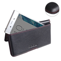 Leather Wallet Pouch for Sony Xperia XZ Dual F8332 (Red Stitch)