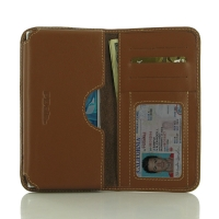 Sony Xperia XZ Dual Leather Wallet Sleeve Case (Brown) PDair Premium Hadmade Genuine Leather Protective Case Sleeve Wallet