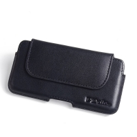 Luxury Leather Holster Pouch Case for Sony Xperia XZ1 Compact (Black Stitch)