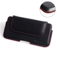 Luxury Leather Holster Pouch Case for Sony Xperia XZ1 Compact (Red Stitch)