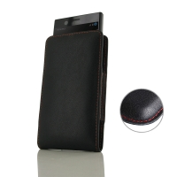 Leather Vertical Pouch Case for Sony Xperia XZ1 Compact (Red Stitch)