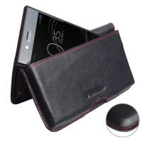 Leather Wallet Pouch for Sony Xperia XZ1 Compact (Red Stitch)