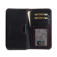 Leather Card Wallet for Sony Xperia XZ1 Compact (Red Stitch)