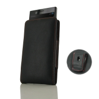 Leather Vertical Pouch Belt Clip Case for Sony Xperia XZ1 Compact (Red Stitch)