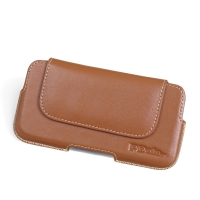 Luxury Leather Holster Pouch Case for Sony Xperia XZ2 Compact (Brown)