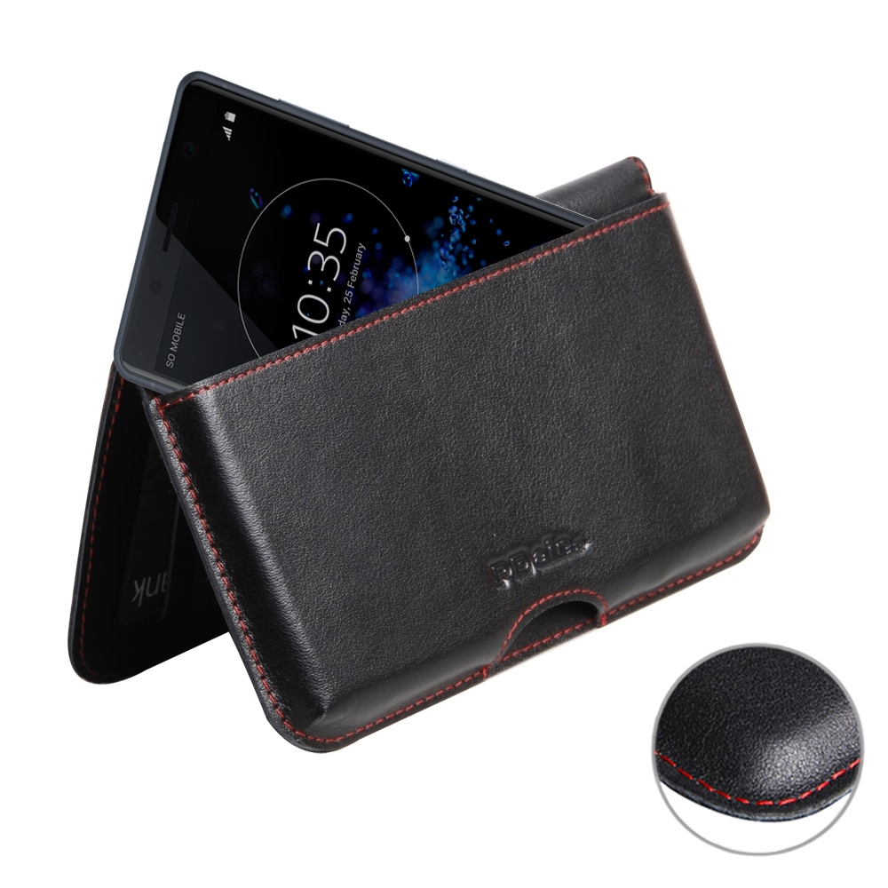 Leather Wallet Pouch for Sony Xperia XZ2 Compact (Red Stitch)