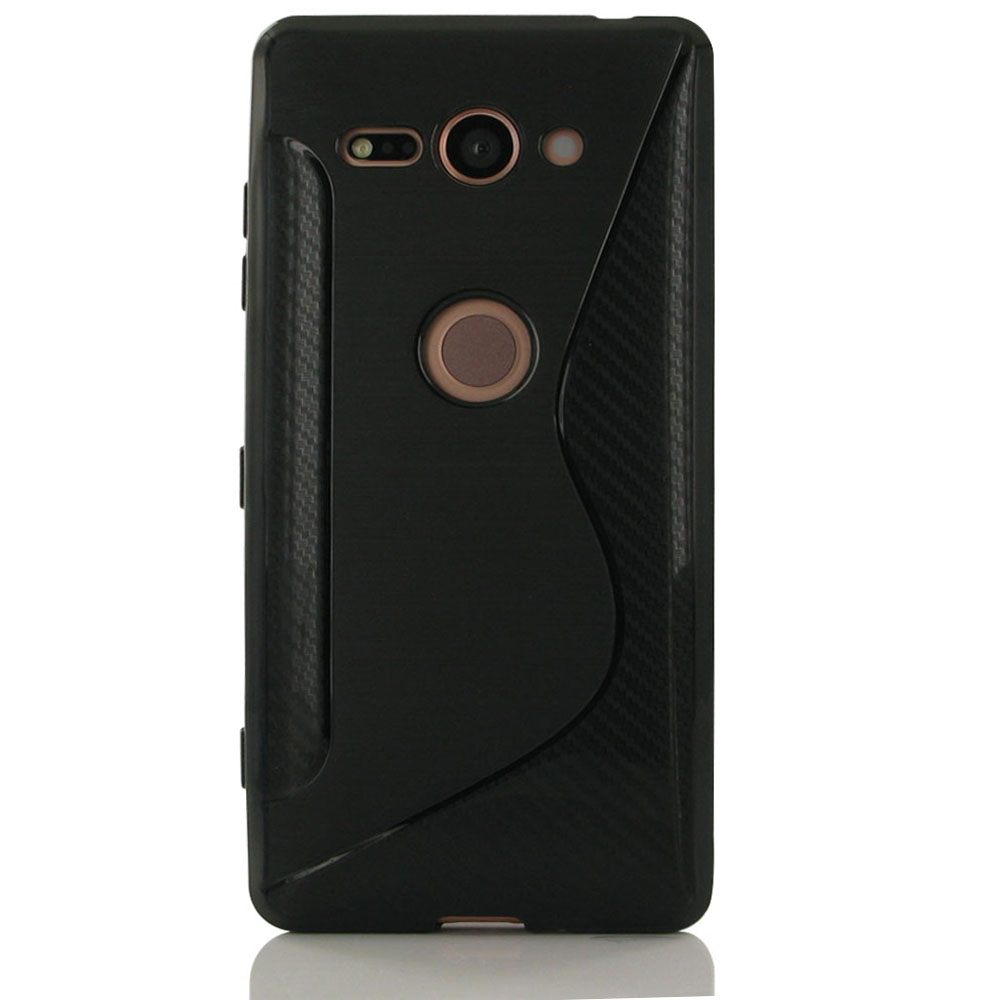 Sony Xperia XZ2 Compact Soft Case (Black S Shape pattern