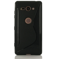 Soft Plastic Case for Sony Xperia XZ2 Compact (Black S Shape pattern)