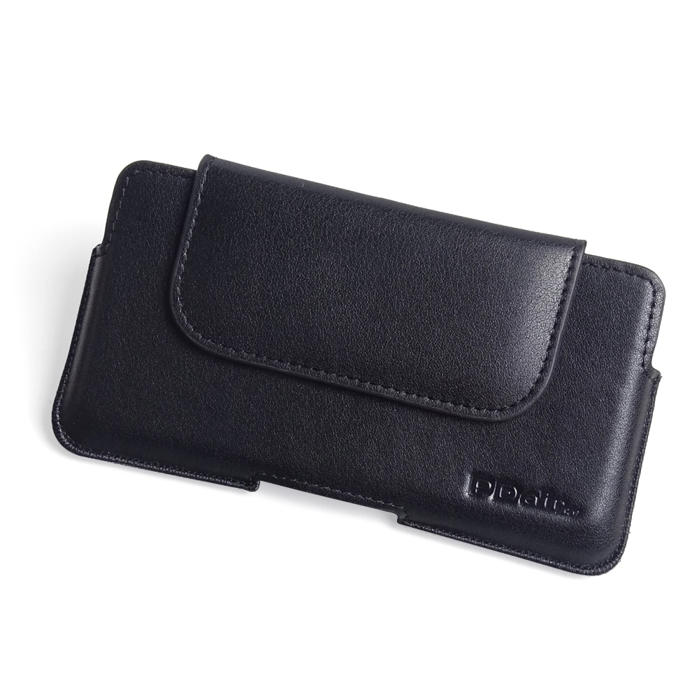 Luxury Leather Holster Pouch Case for Sony Xperia XZ2 (Black Stitch)