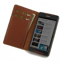 Leather Book Stand Wallet Case for Sony Xperia Z5 Compact (Brown)