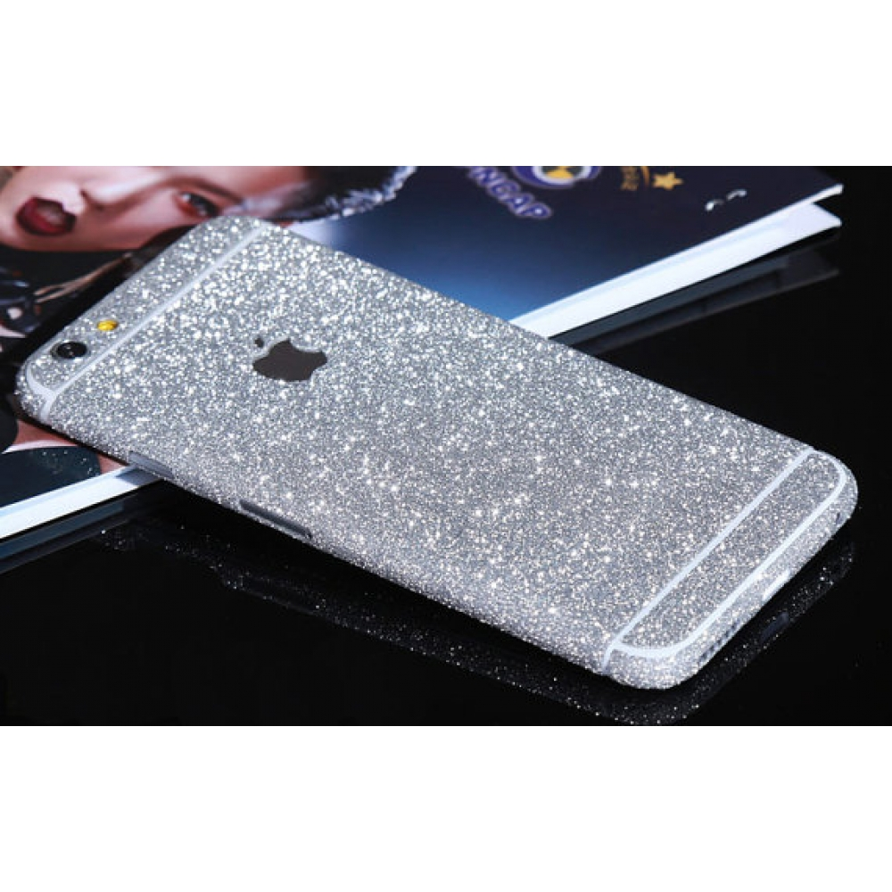 10% OFF + FREE SHIPPING, Buy PDair Top Quality Sparkle iPhone Decal Wrap Skin Set (Silver) which is available for iPhone 6 | iPhone 6s, iPhone 6 Plus | iPhone 6s Plus, iPhone 5 | iPhone 5s SE. You also can go to the customizer to create your own stylish l