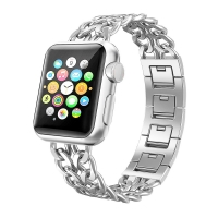 Stainless Steel Metal Cowboy Chain Strap Wrist Band for Apple Watch Series 2 42mm (Silver)