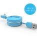 2 in 1 USB to Micro USB Lightning Retractable Cable (Blue) protective carrying case by PDair