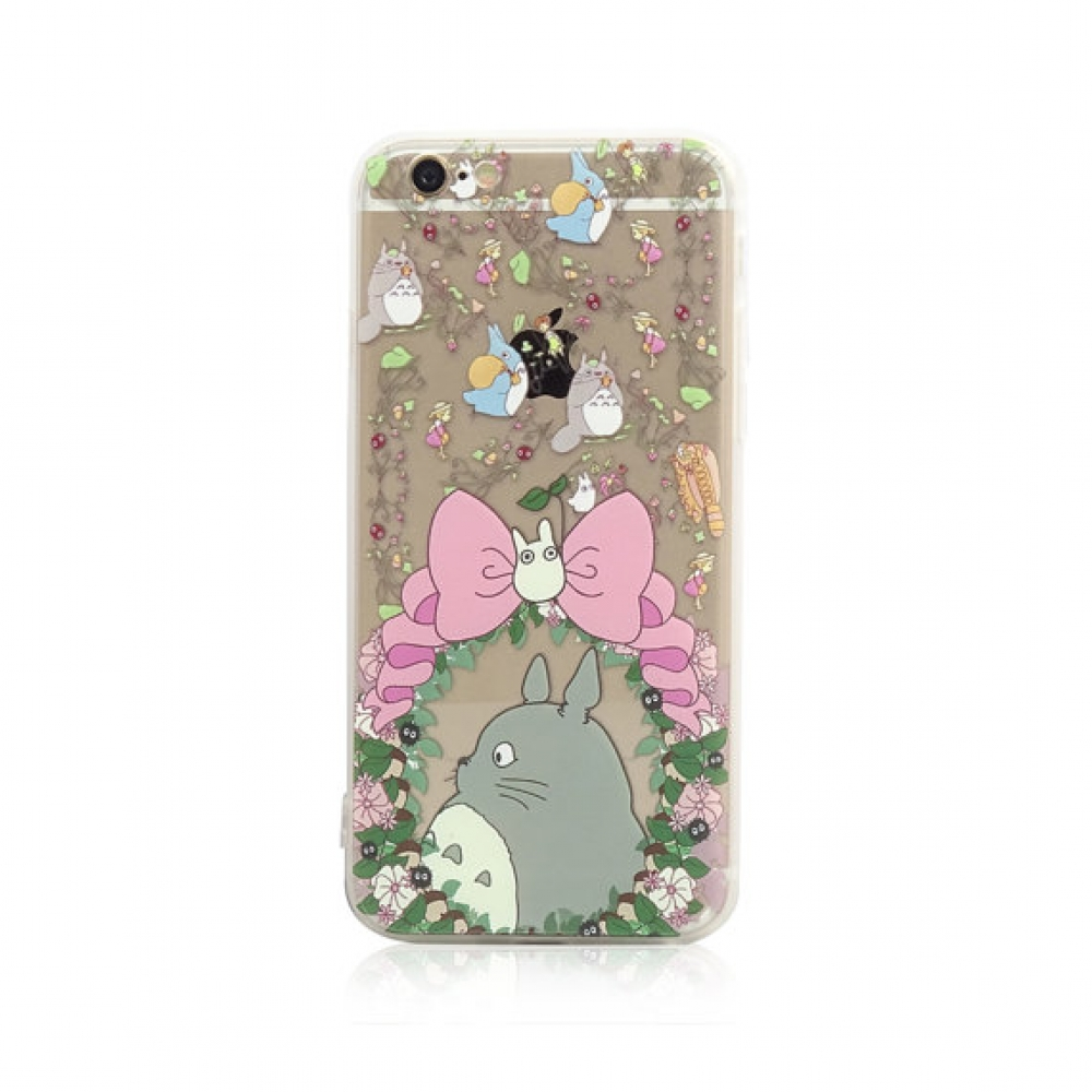 10% OFF + FREE SHIPPING, Buy PDair iPhone Soft Clear Case Totoro Pink Bow Chu Chibi Floral Flowers Pattern which is available for iPhone 5 | iPhone 5s SE 6 6s, 6 6s plus You also can go to the customizer to create your own stylish leather case if looking
