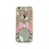 Totoro Pink Bow Chu Chibi Floral Flowers Pattern iPhone 6s 6 Plus SE 5s 5 Pattern Printed Soft Case