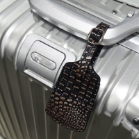 Travel Leather Luggage Tag (Lizard Skin Pattern)
