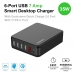 6-Port USB Smart Desktop Charger With QC 2.0 + Type-C (35W 7A) (Black) protective carrying case by PDair