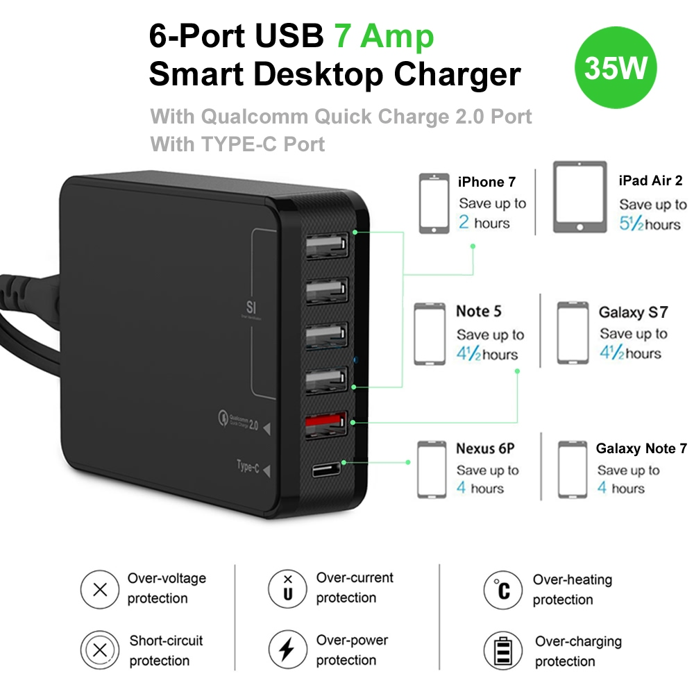 6 Port Usb Smart Desktop Charger With Qc 20 Type C 35w 7a Black Car Wiring Diagram