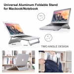 Universal Aluminum Foldable Stand for Macbook/Notebook (Silver)