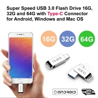 Super Speed USB 3.0 Flash Drive 16G, 32G and 64G with Type-C Connector for Android, Windows and Mac OS - Jack Design (White Chrome Silver)