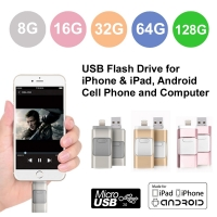 USB Flash Drive 8G/16G/32G/64G/128G with Lightning and Micro USB Connector for iPhone & iPad, Android Cell Phone and Computer