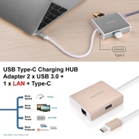 USB Type-C Charging HUB Adapter 2 x USB 3.0 + 1 x LAN + Type-C :: Pdair
