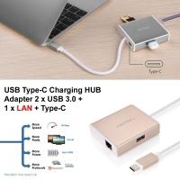 USB Type-C Charging HUB Adapter 2 x USB 3.0 + 1 x LAN + Type-C