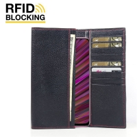 Continental Leather RFID Blocking Wallet Case for ViVO V15 (Black Pebble Leather/Red Stitch)