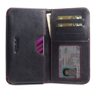 Leather Card Wallet for ViVO V15 (Red Stitch)