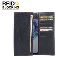 Continental Leather RFID Blocking Wallet Case for ViVO X23 (Black Pebble Leather/Red Stitch)