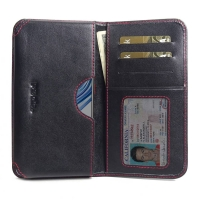 Leather Card Wallet for ViVO X23 (Red Stitch)
