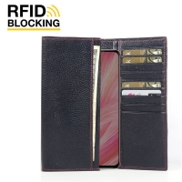 Continental Leather RFID Blocking Wallet Case for ViVO X27 (Black Pebble Leather/Red Stitch)