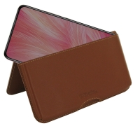 Leather Wallet Pouch for ViVO X27 (Brown)