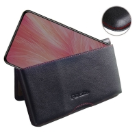 Leather Wallet Pouch for ViVO X27 (Red Stitch)