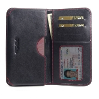 Leather Card Wallet for ViVO X27 (Red Stitch)