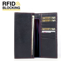 Continental Leather RFID Blocking Wallet Case for ViVO Z1 Lite (Black Pebble Leather/Red Stitch)